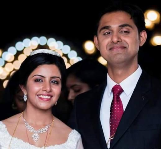 merin joseph with her newlywed husband chris abraham