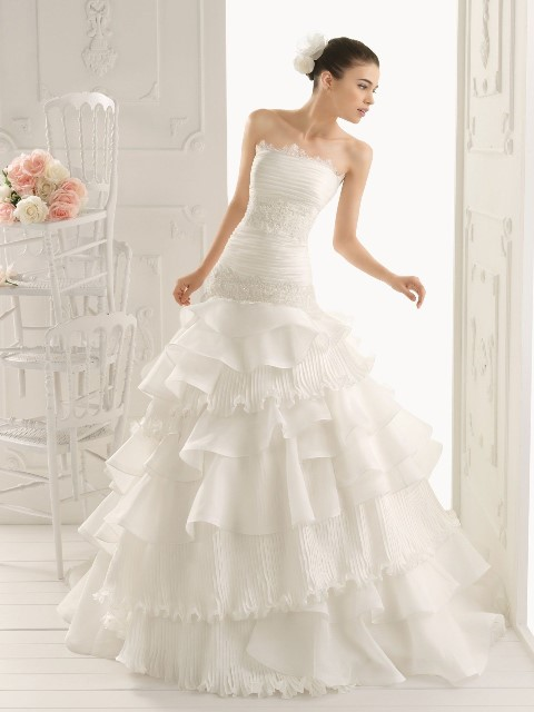 organza wedding dress with ruffled tiers