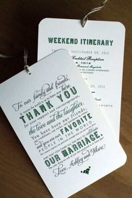personalized wedding welcome notes