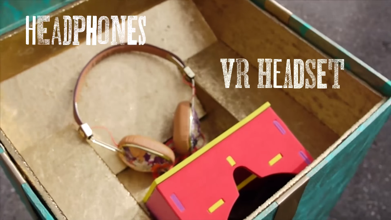 the VR headset and headphones that maggie donned