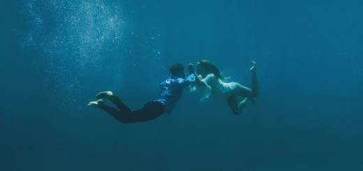 underwater wedding portrait