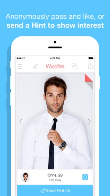 wyldfire dating app page showing the hint feature on an invited male user's profile