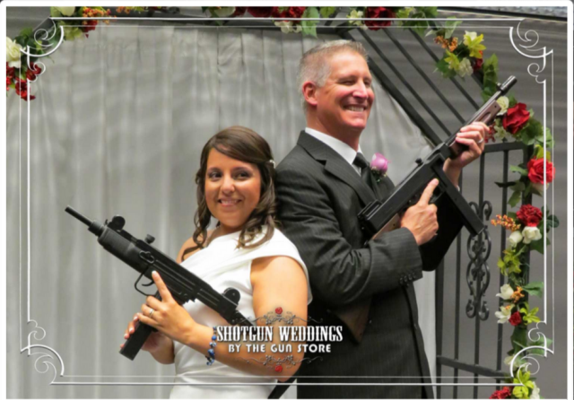 a newlywed couple at the gun store