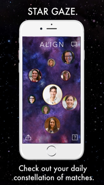align dating app page showing the daily constellation of matches