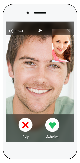 at first sight dating app page showing a video chat in progress