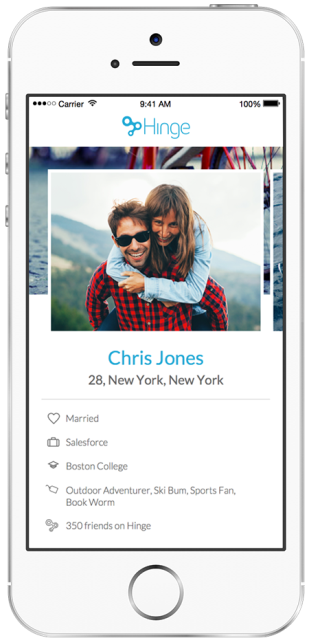 hinge dating app page showing the relationship status