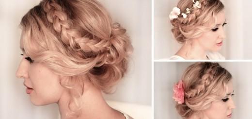 Braided hair updo in curled bun