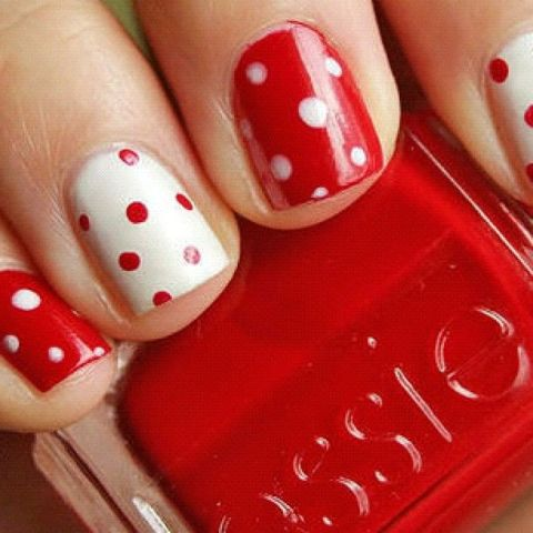 Reverse color polka dot accent nails