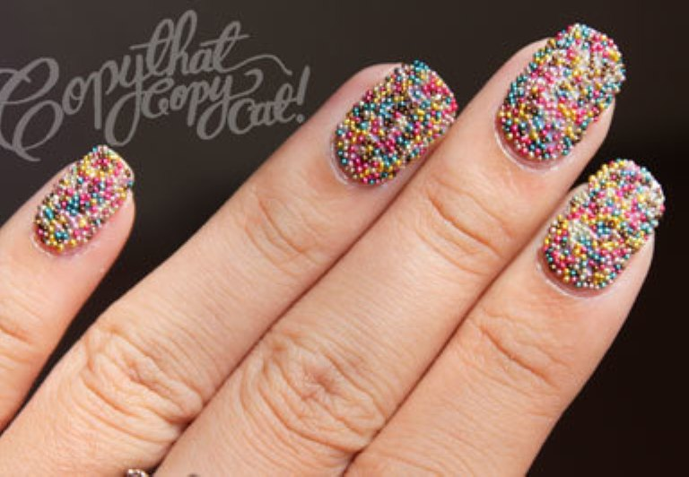 Rainbow caviar nails