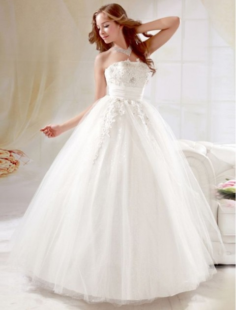 4 strapless lace ball gown