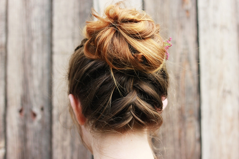 Upside down braid and bun