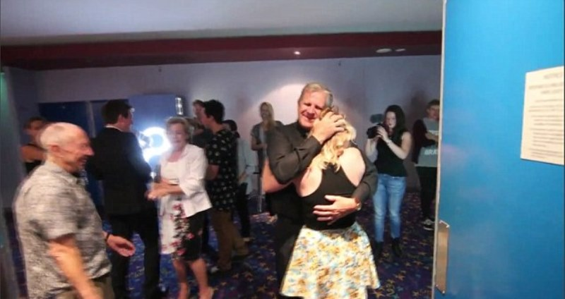 amy smith seen hugging her father after the successful proposal