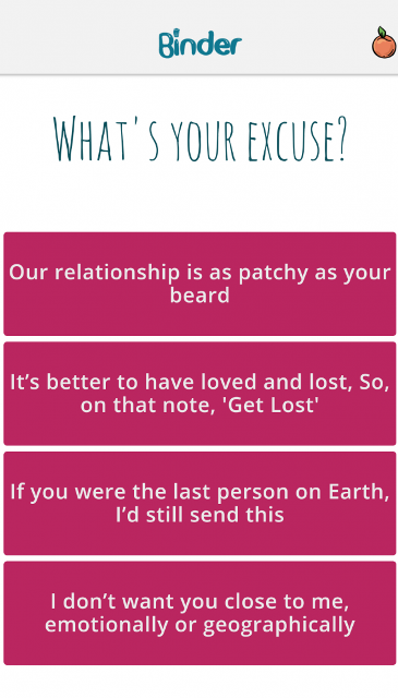 binder breakup app page showing the ready-to-use breakup templates