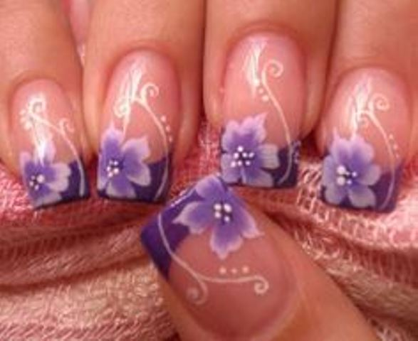 bridal bouquet inspired french manicure