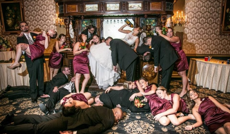 bridal party sloshed out