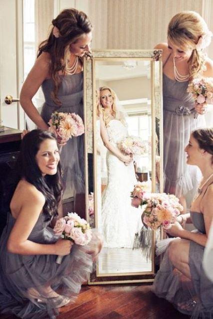 bridal party through the mirror