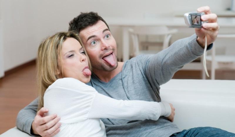 couple making faces at a camera