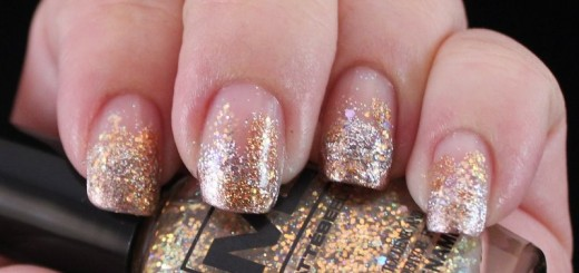 french manicure with gold glitter