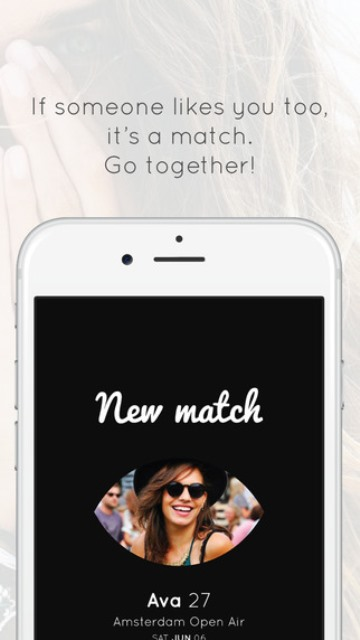 glance dating app page showing a successful match