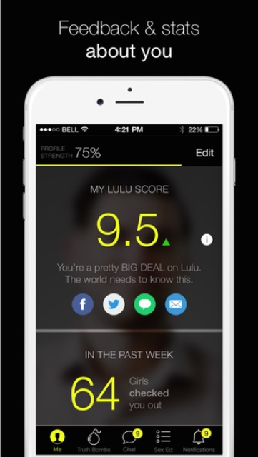 lulu dating app page showing one male user's score and stats