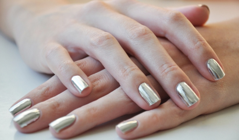 metallic paint on french manicure