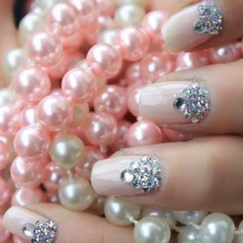 nail jewelry on french manicure