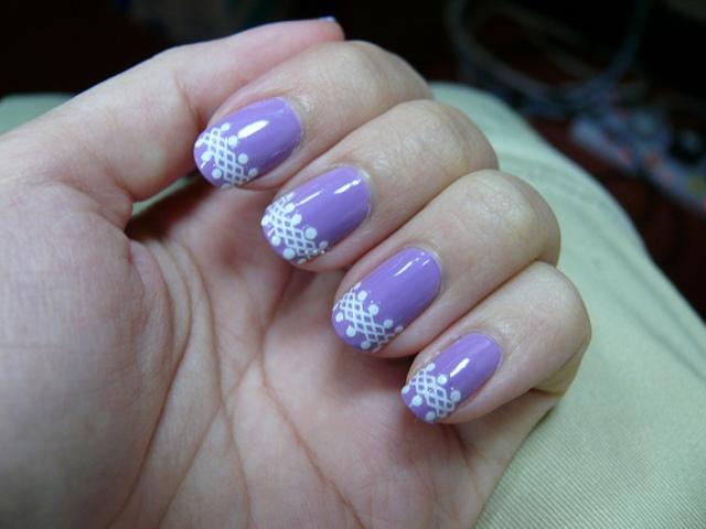 purple lace art on french manicure