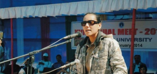 sanjukta parashar speaking at an event in tezpur university, assam