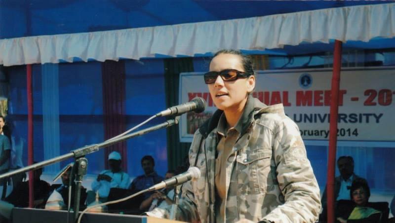 sanjukta parashar speaking at an event in tezpur university, assam