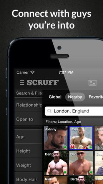 scruff app page showing guys who are nearby