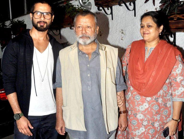 Shahid Kapoor with father Pankaj Kapoor and step-mom Supriya Pathak