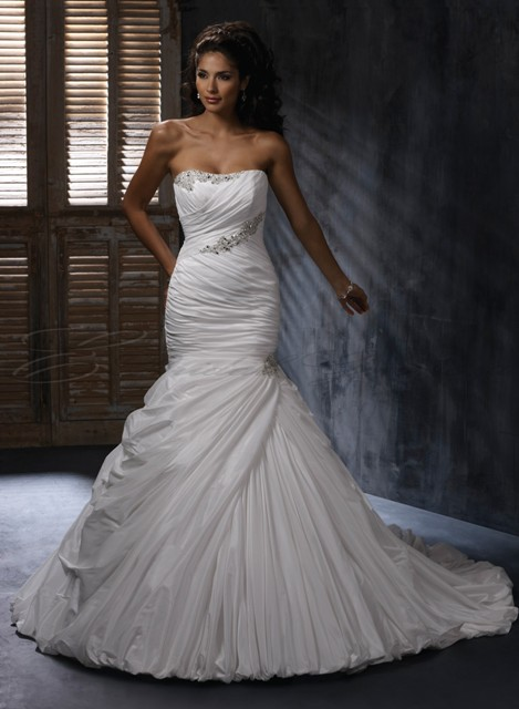 taffeta wedding dress with a-line skirt