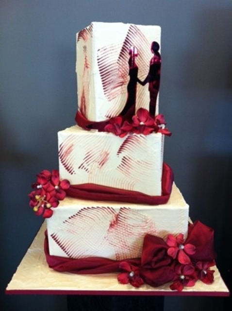 painterly brushstroke wedding cake