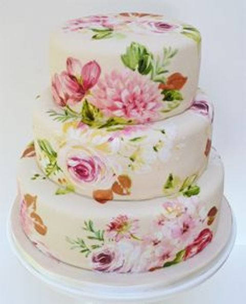 floral paint pattern wedding cake