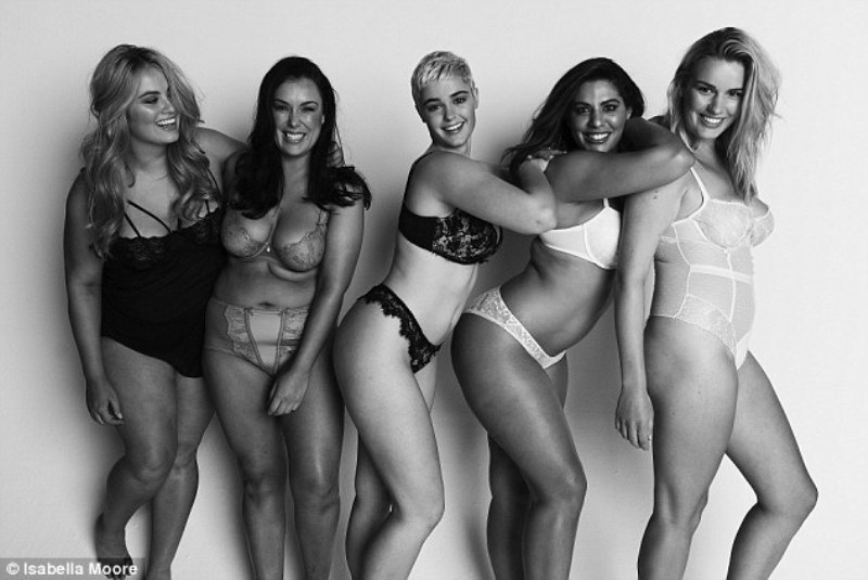 Buxom beauties Sophie Sheppard, Margaret Macpherson, Stefania Ferrario, Jessica Vander Leahy and Olivia Langdon are part of #ProjectWomanKIND