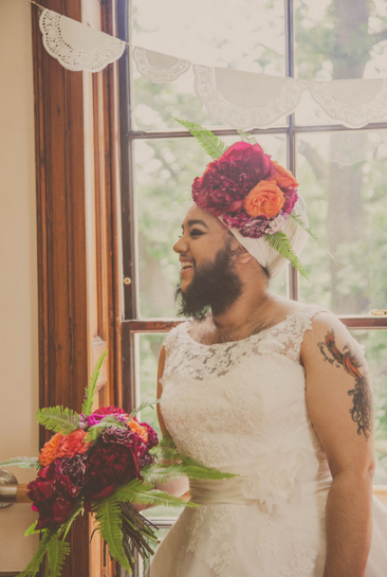 Harnaam Kaur in Louisa Coulthurst's Flower Bearded Bride Photoshoot