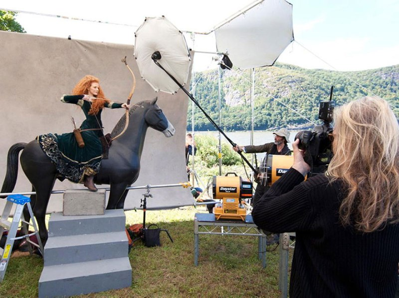 Jessica Chastain as Merida from Brave- behind the scenes