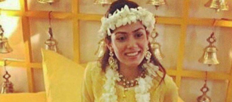 Mira at her haldi and kaleera ceremony