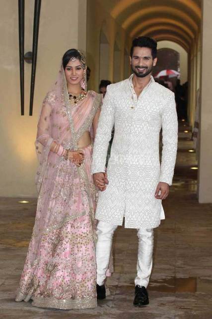 Shahid Mira at a photo-op after wedding