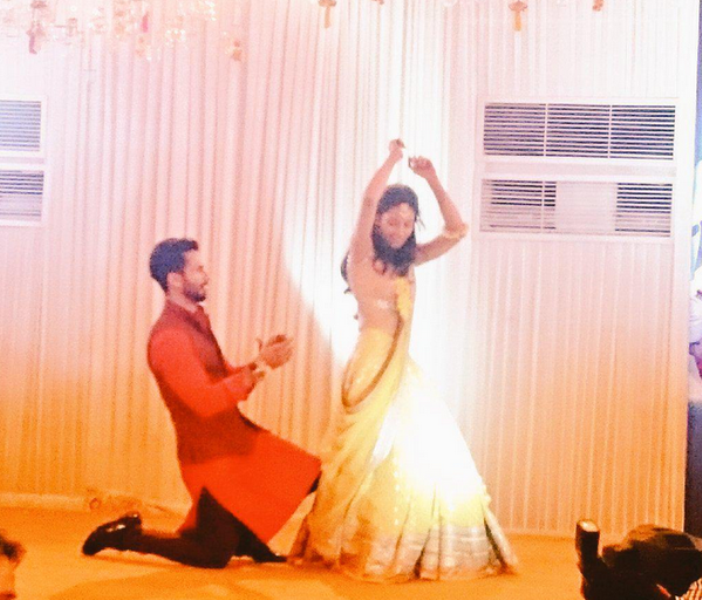 Shahid and Mira at their sangeet ceremony