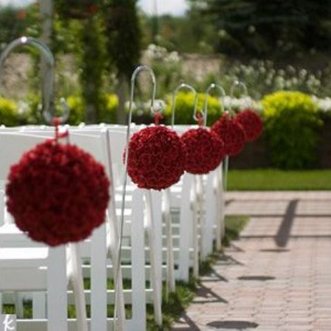 red rose hanging aisle markers