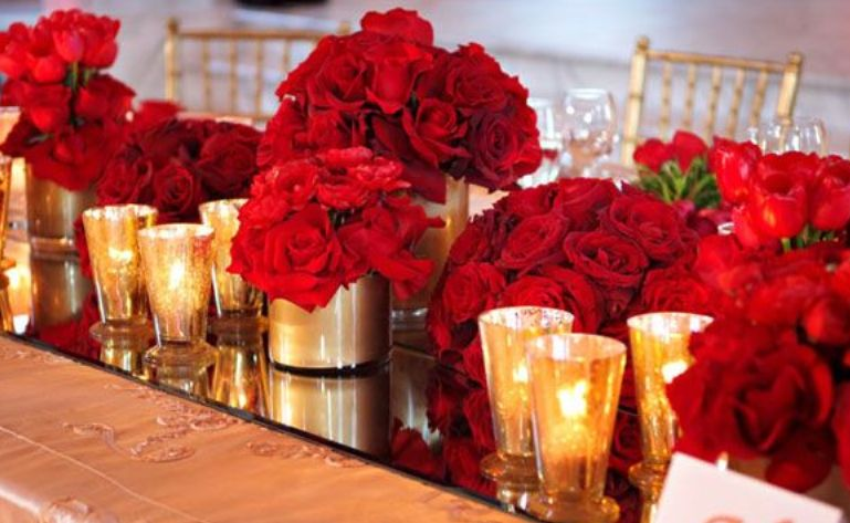 red roses with candles
