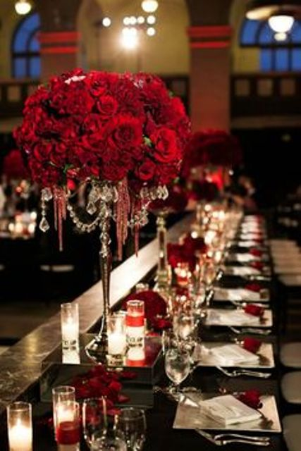 red roses with menu