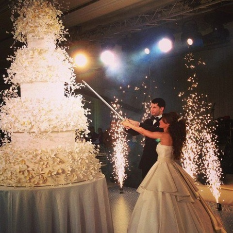 couple cutting giant wedding cake