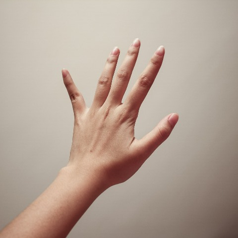 woman's splayed hand