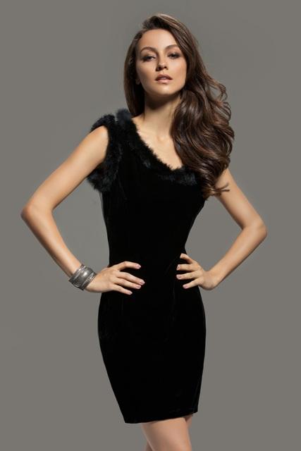 black fur dress