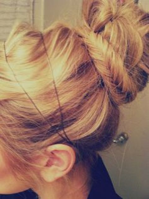 top bun with braid base