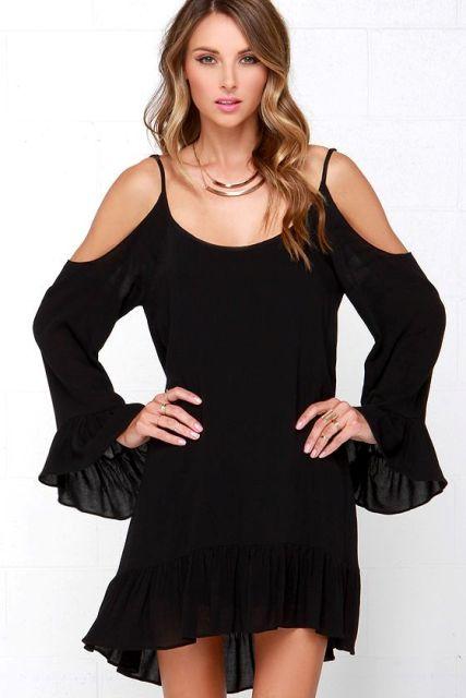 short off shoulder ruffle black dress