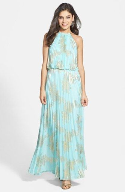 halter pleated blouson and skirt beach dress