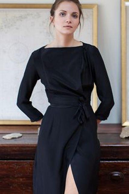 wrap-effect black satin dress